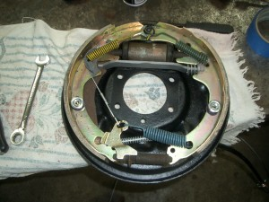Cleaned brake backing plate (front)